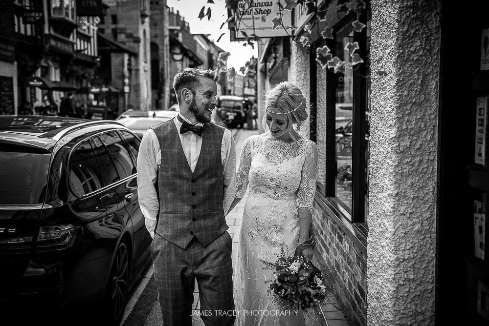 bride and groom walking in knutsford