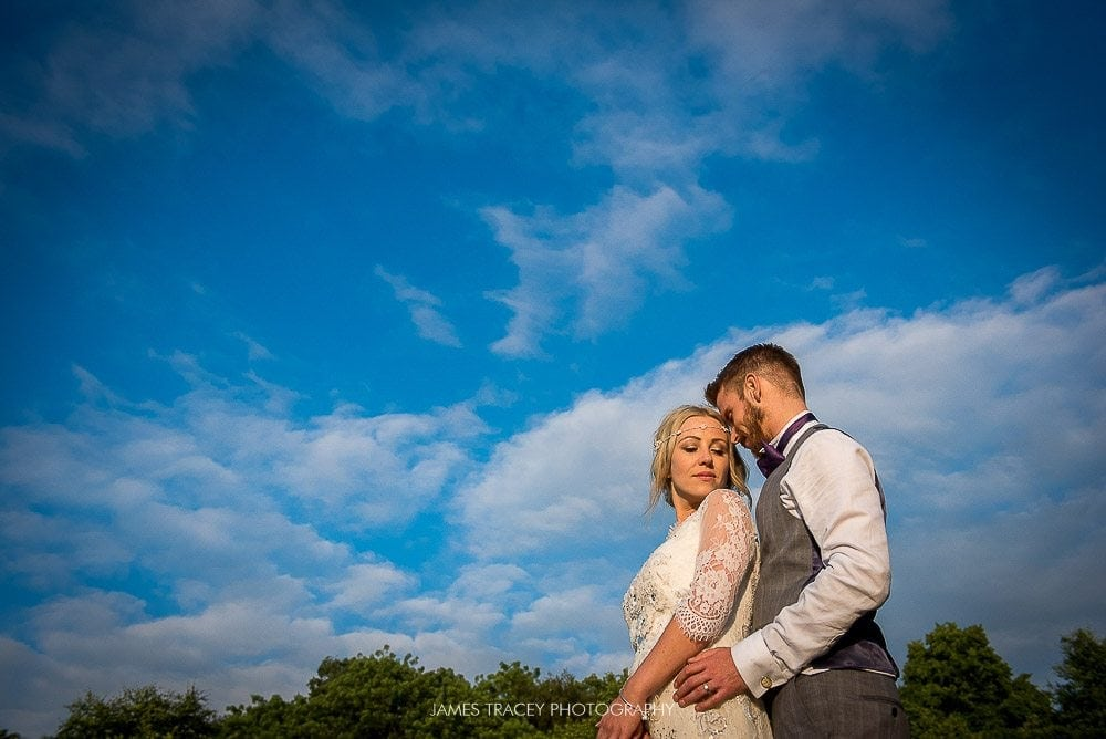 romantic photo of wedding couple