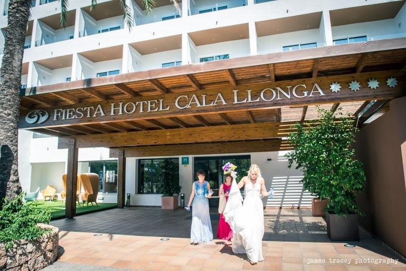 bride walking out of fiesta hotel cala llonga