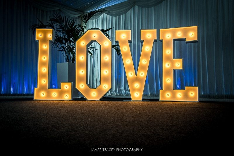 the word is love light up letters at heaton house farm
