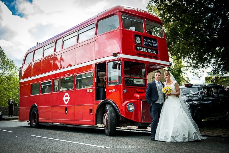 routemaster bus for a wedding at heaton house farm