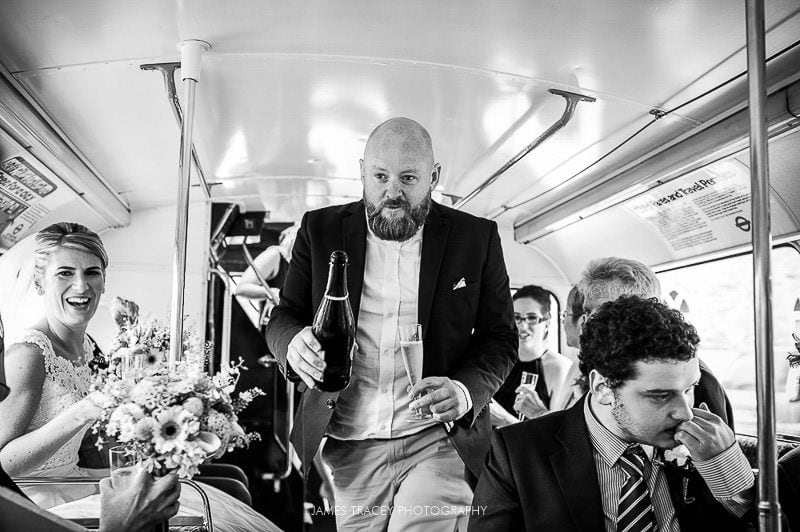 wedding guests on a routemaster bus heading to heaton house farm