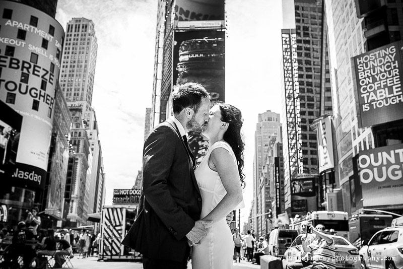 Black and white bride and groom in times square