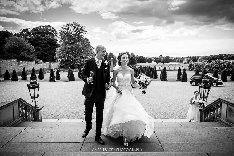 bride and groom arriving at knowsley hall