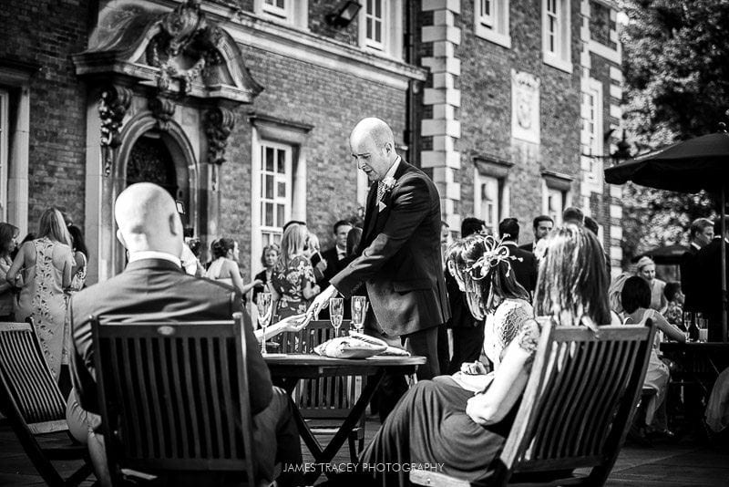 wedding guests at a summer wedding at knowsley hall