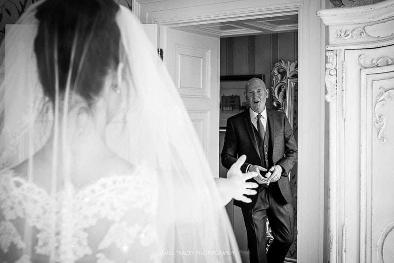 dad seeing daughter in her wedding dress