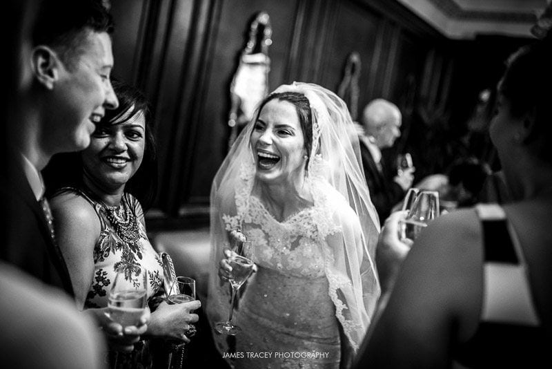 bride laughing with her friends