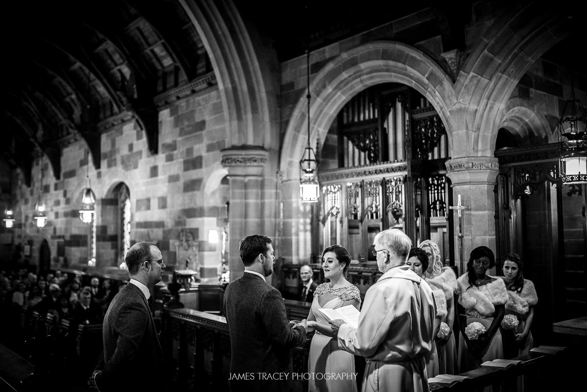 wedding in a church in black and white