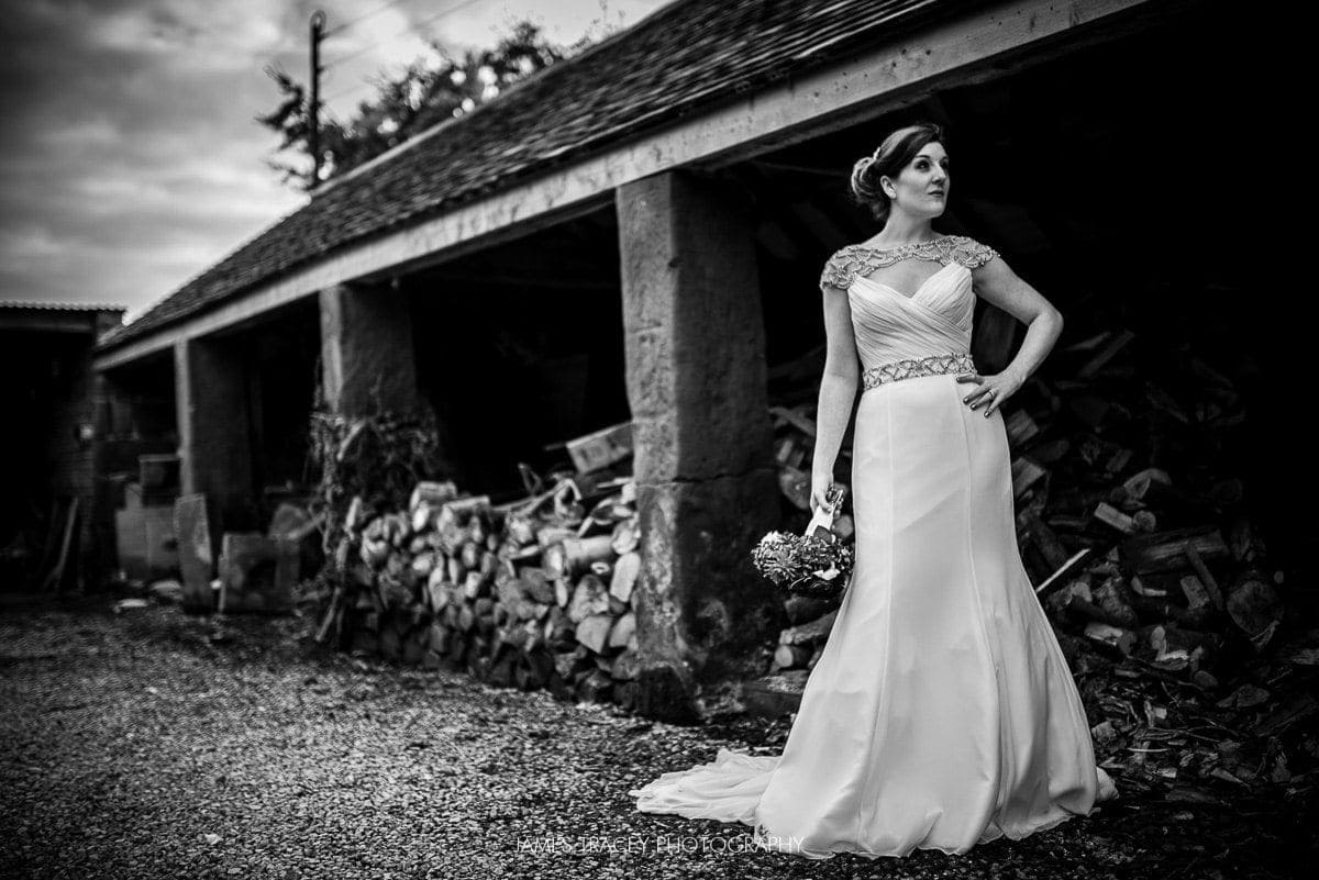 bride posing at pimhill barn wedding