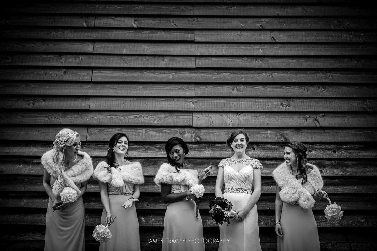 bridesmainds group photo in black and white
