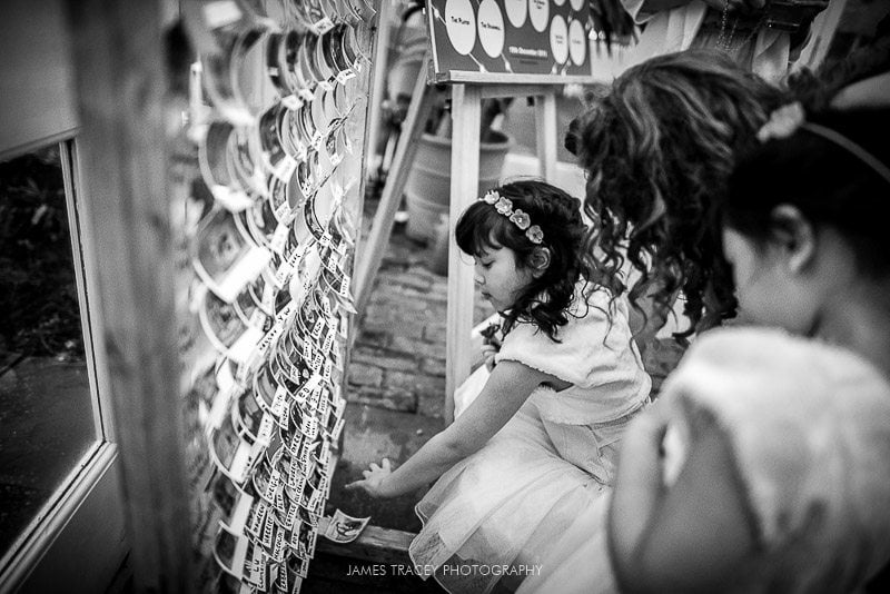 flower girl looking at seating plan