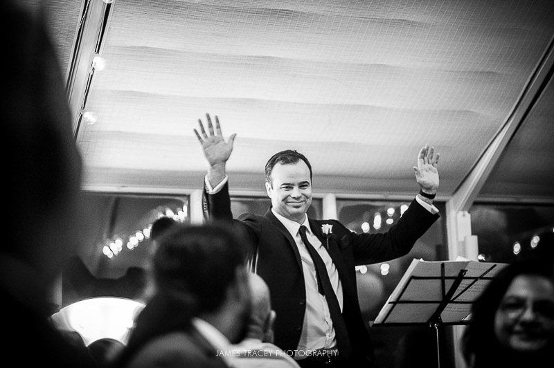 best man taking applause