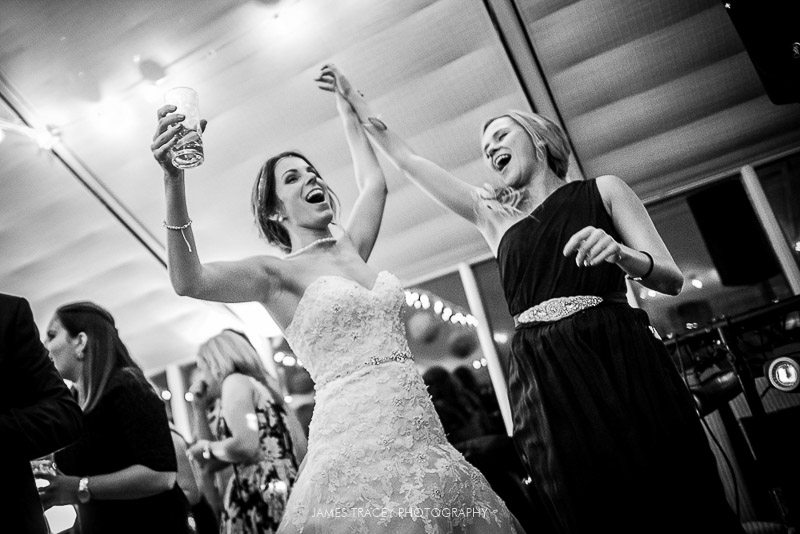 bride partying to live band