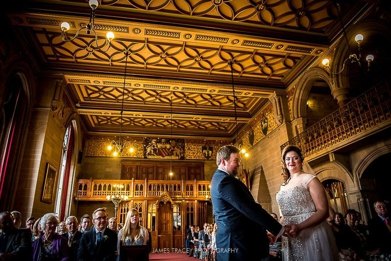 bride and groom at manchester townhall