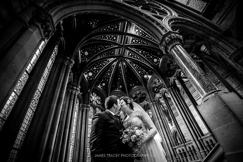 wedding couple at manchester town hall