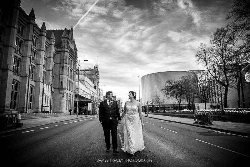 bride and groom on oxford road