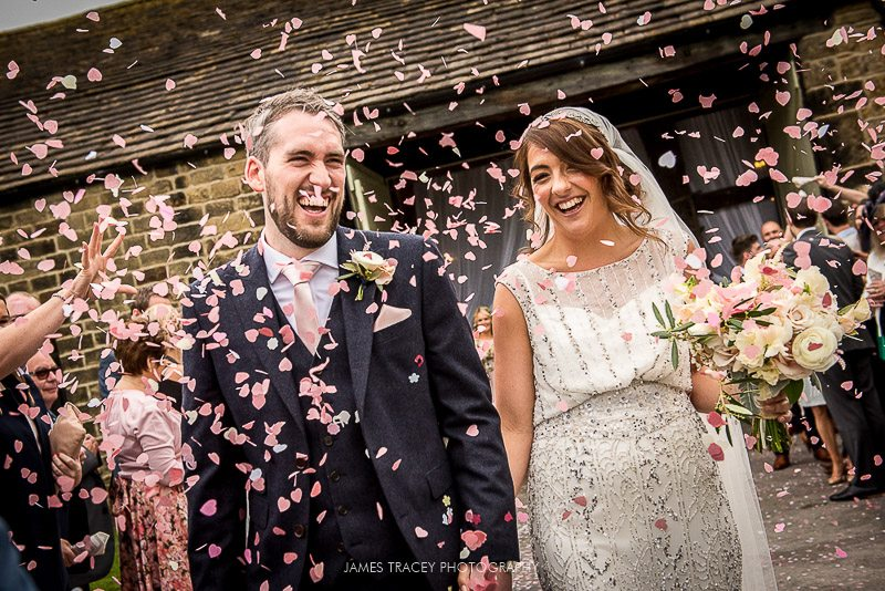 confetti shot at east riddleston hall wedding