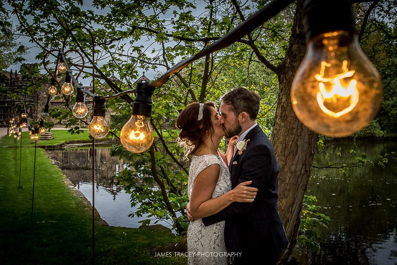 wedding couple in lights