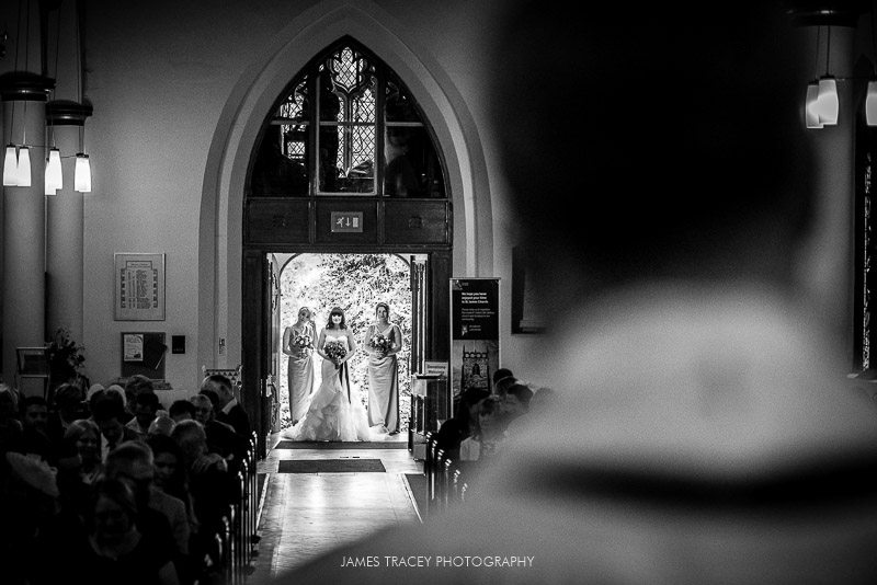 bride about to make her entrance to church