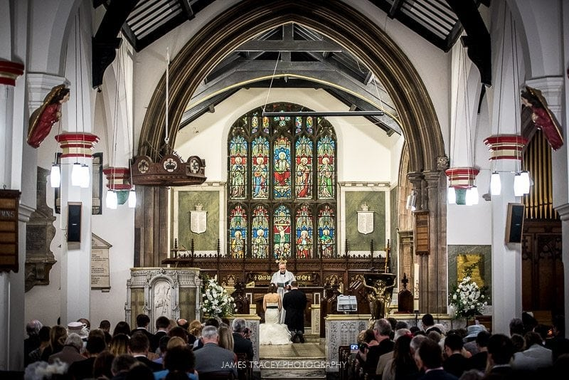 wide angle of church wedding