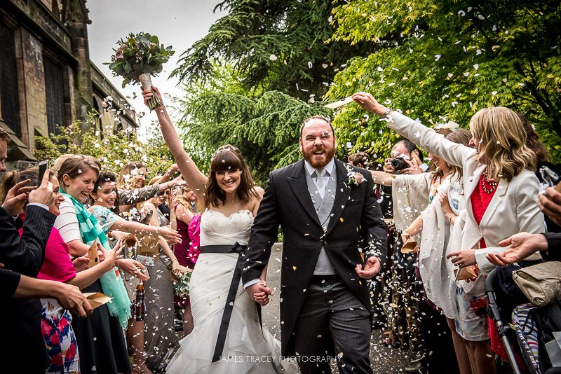 bride and groom in confetti