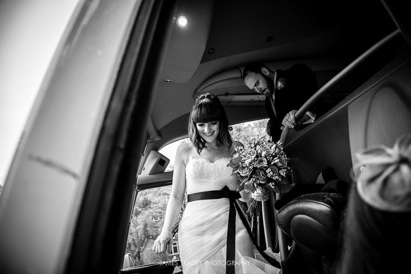 bride getting off a coach