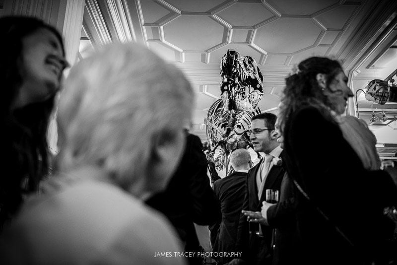 wedding guests in front of T-Rex at manchester museum