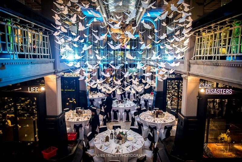 high level photo of wedding breakfast room
