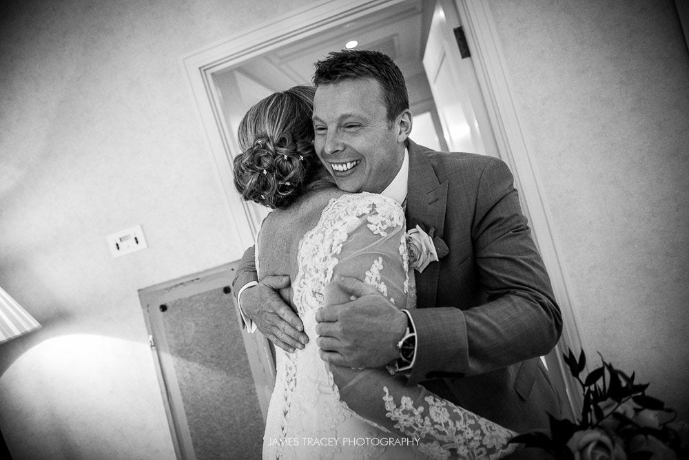 hugs at a wedding