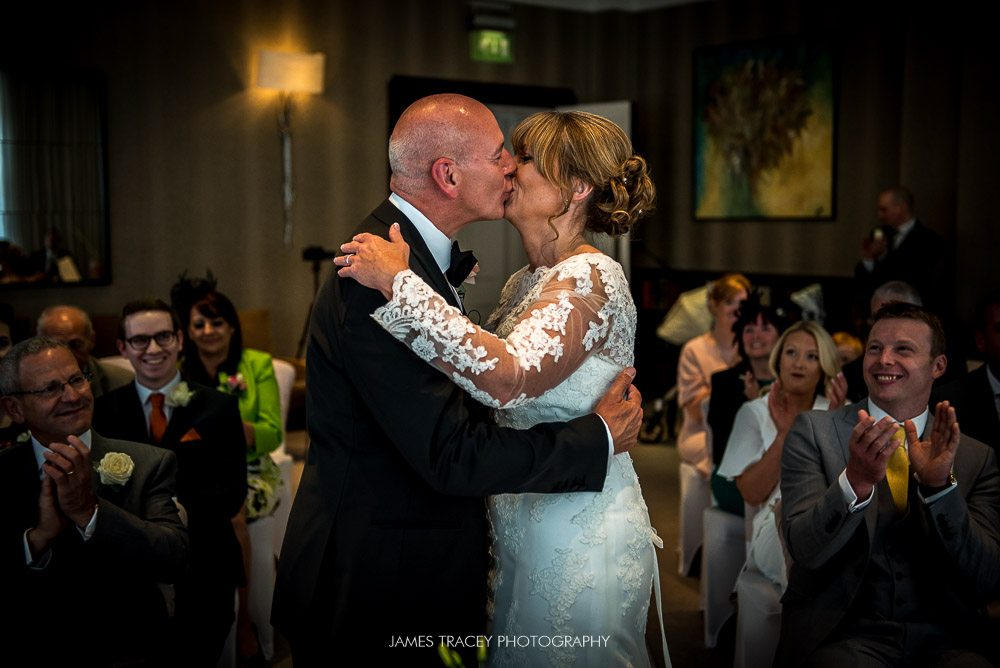 bride and groom kissing at chester grosvenor wedding