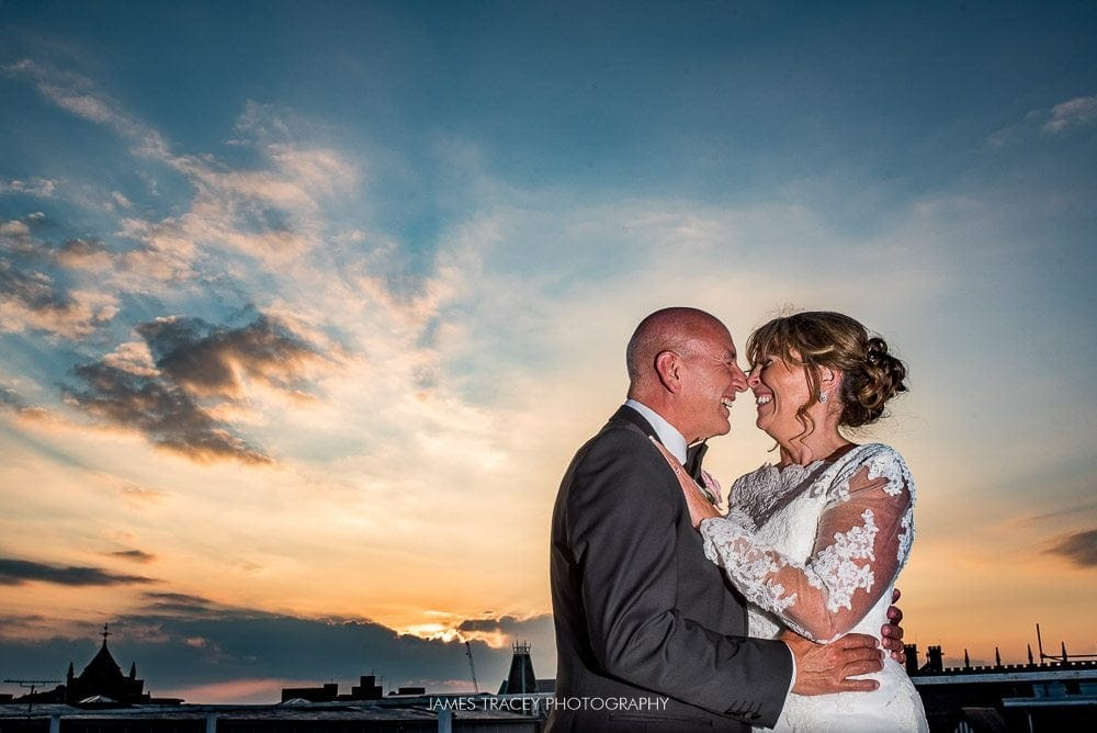 wedding photos during sunset at chester grosvenor