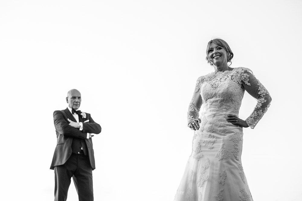black and white posed wedding photo