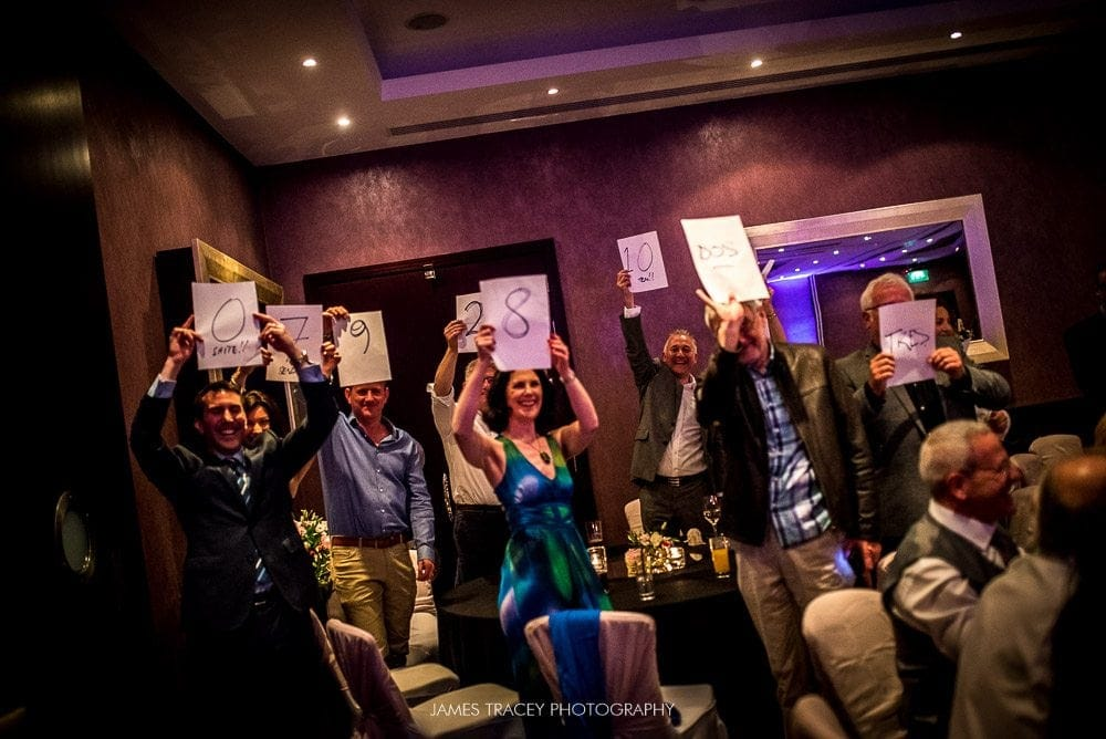 wedding guests giving scores at chester grosvenor