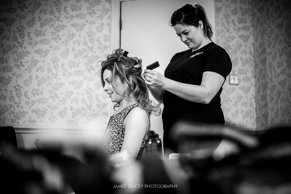bride having her hair set