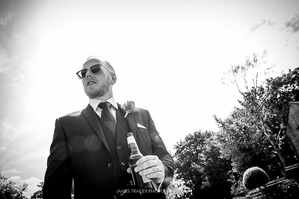 cool shot of groom