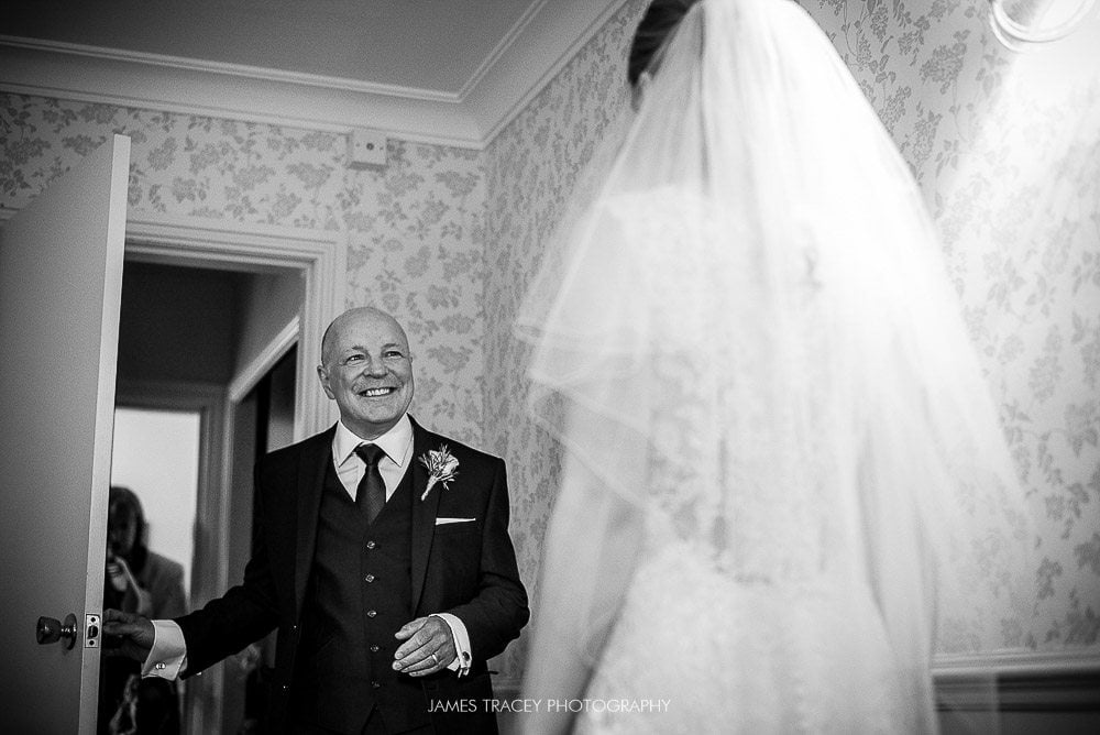 dad seeing daughter in wedding dress