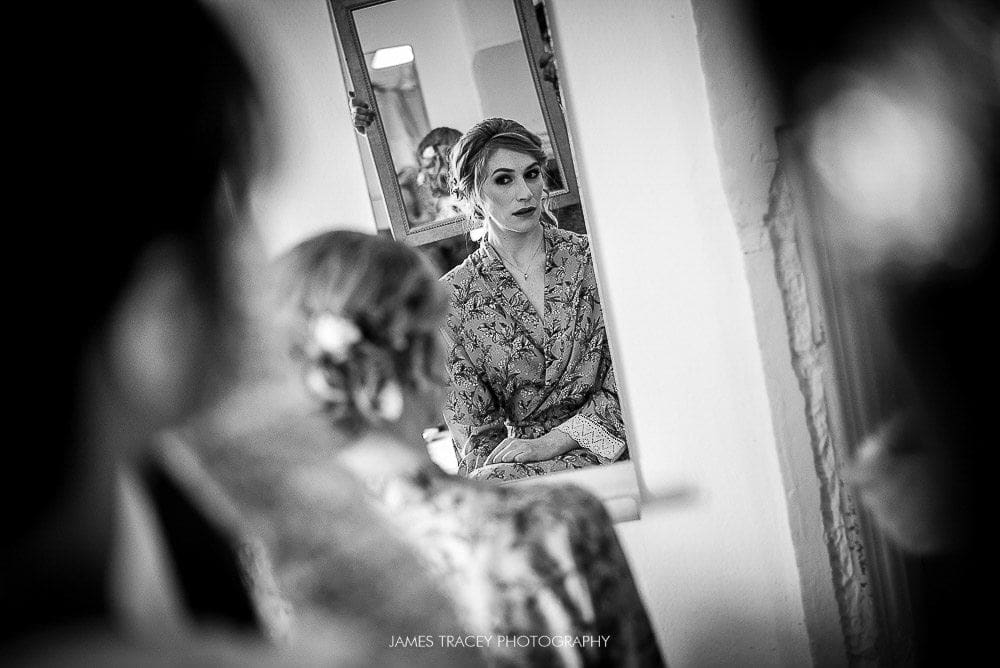 bride reflected ina mirror