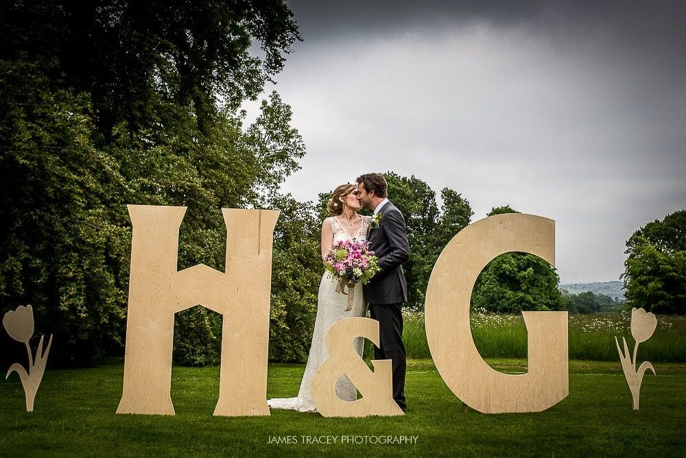 bride and groom in cut out letters