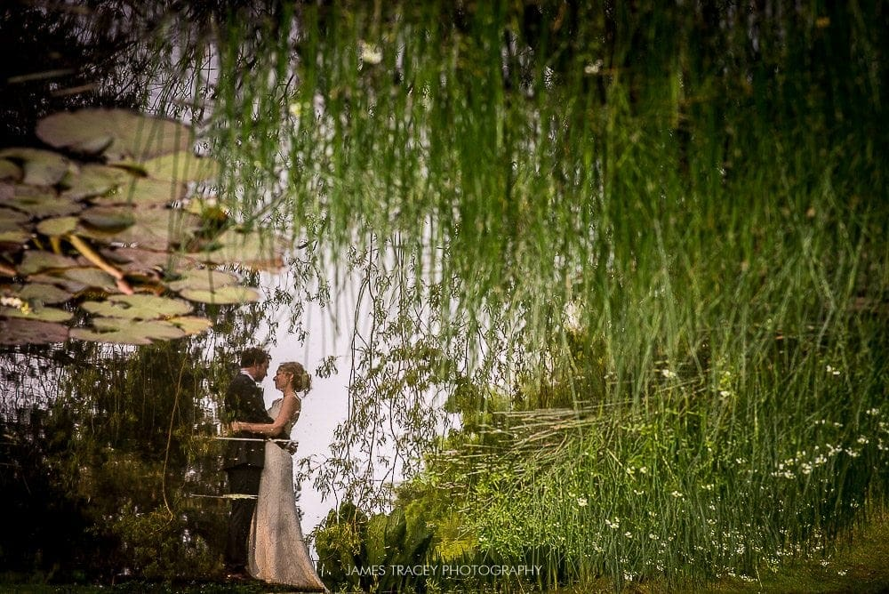 reflection of wedding couple