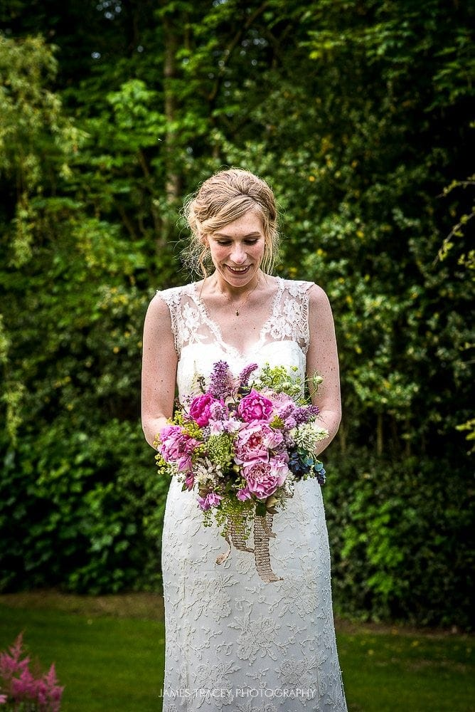 bride and her wedding flowers