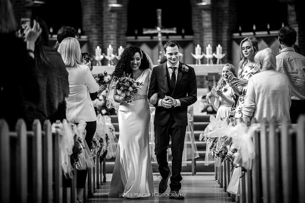 walking back down the aisle