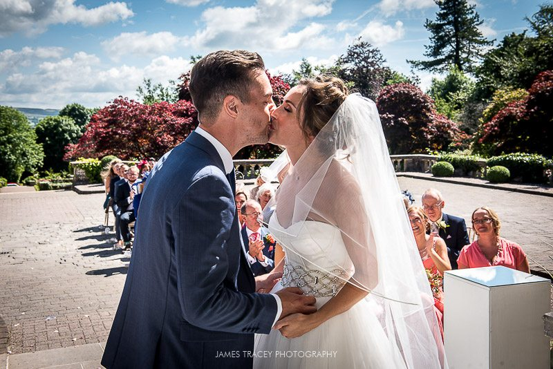 first wedding kiss at eaves hall