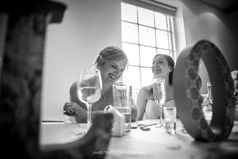 bride laughing at jokes