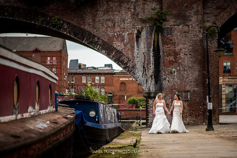 wide angle photos of 2 brides