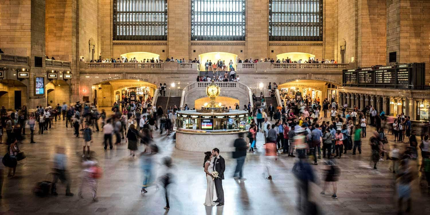 Wedding couple at Grand Central Terminal in New York City