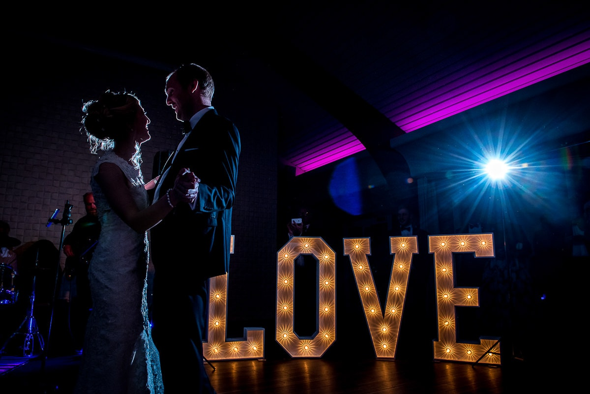 Love sign at colshaw hall first dance