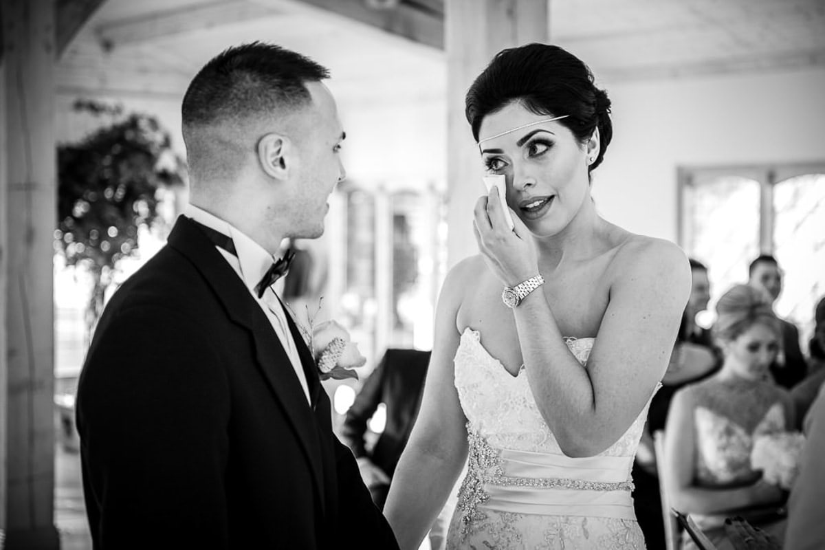 black and white photo of wedding at colshaw hall
