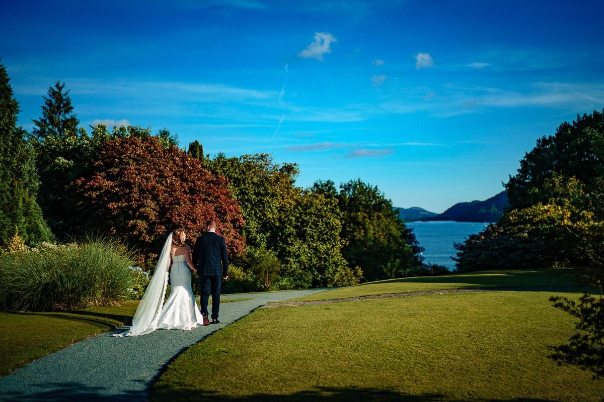wedding couple walking to windermere