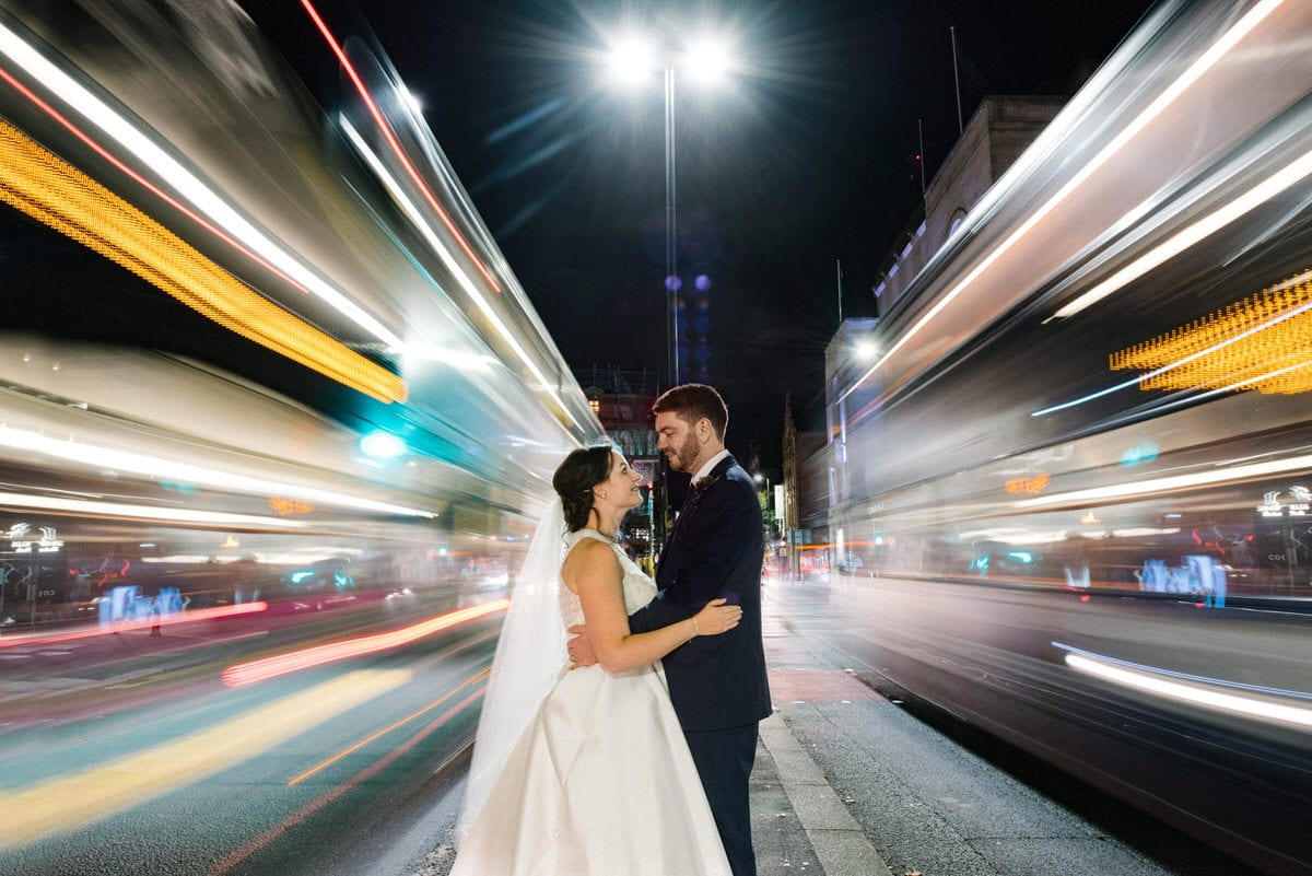 Manchester hall wedding on the streets on the city