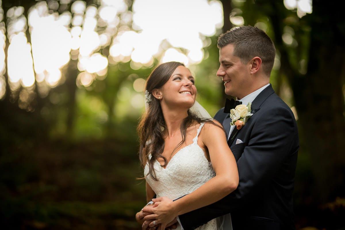 happy bride and groom at peckforton castle